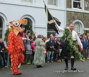 Hal-an-Tor dragon and Cornish flag